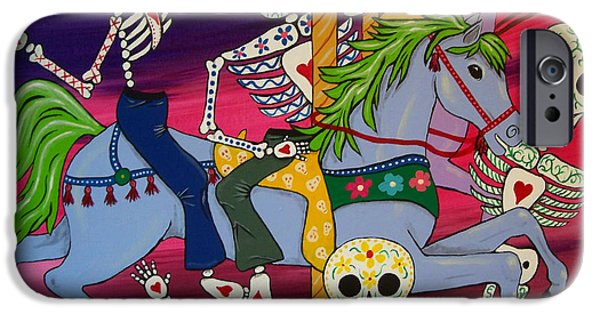 Carousel Horse Paintings iPhone Cases - Carousel Horses and Skeletons iPhone Case by Julie Ellison