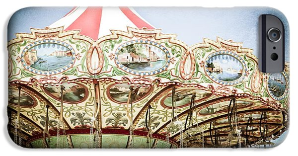 Casino Pier iPhone Cases - Carousel Top iPhone Case by Colleen Kammerer