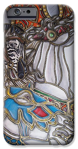 Carousel Horse Paintings iPhone Cases - Carousel Two iPhone Case by Jerry Foxworth