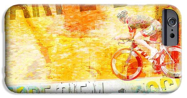 Skateboards iPhone Cases - Carpe Diem Biker Pop Art Poster iPhone Case by ArtyZen Studios - ArtyZen Home