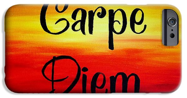 Business Paintings iPhone Cases - Carpe Diem iPhone Case by Michelle Eshleman