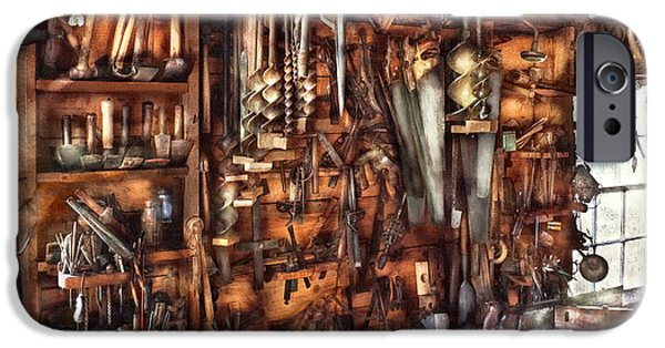 Workbench iPhone Cases - Carpenter - Thats a lot of tools  iPhone Case by Mike Savad