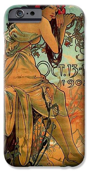 Art Nouveau Flower iPhone Cases - Carriage Dealers, 1902 Colour Litho iPhone Case by Alphonse Marie Mucha