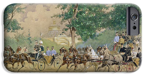 The Horse Drawings iPhone Cases - Carriage Driving near the Rotunda in Vienna iPhone Case by Austrian School