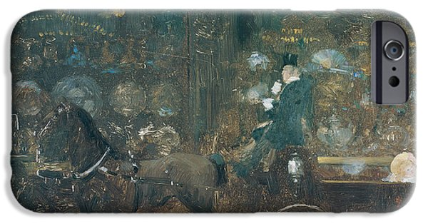 Comfort Paintings iPhone Cases - Carriage Ride iPhone Case by Giuseppe De Nittis