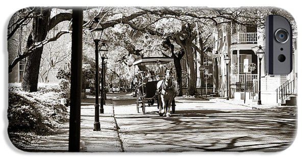 Monotone iPhone Cases - Carriage Ride in Charleston iPhone Case by John Rizzuto