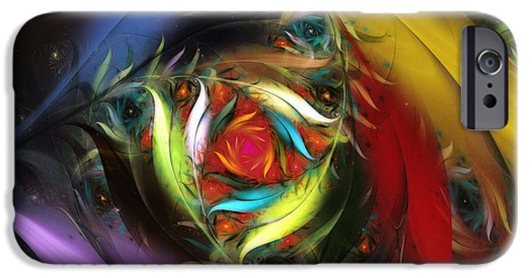 Poetic iPhone Cases - Carribean Nights-Abstract Fractal Art iPhone Case by Karin Kuhlmann