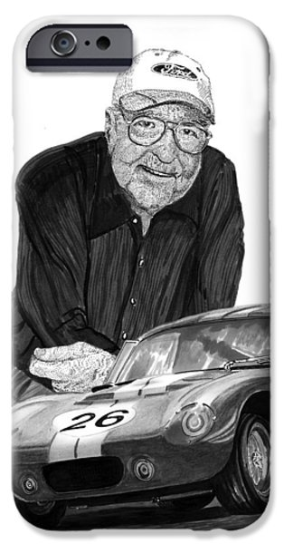 Carroll Shelby iPhone Cases - Carroll Shelby    Rest in peace iPhone Case by Jack Pumphrey