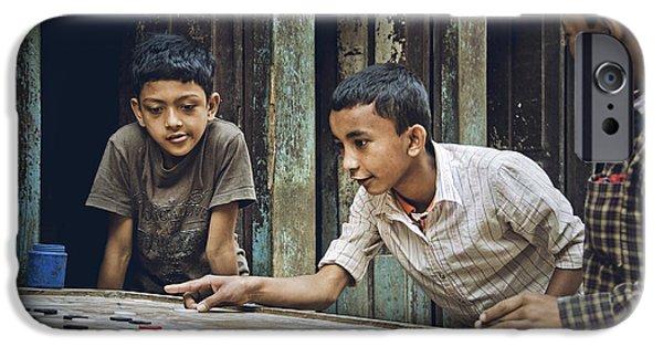 Rosen iPhone Cases - Carrom Boys iPhone Case by Valerie Rosen