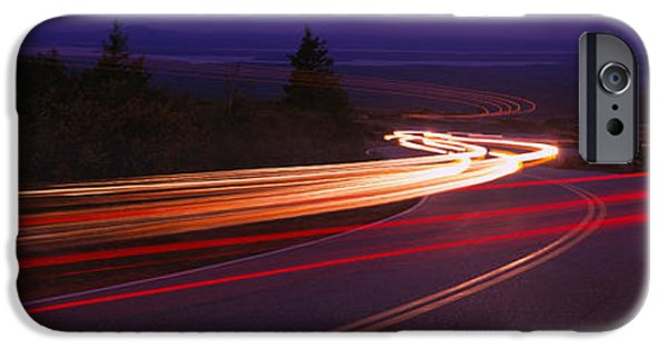 Maine Roads iPhone Cases - Cars Moving On The Road, Mount Desert iPhone Case by Panoramic Images