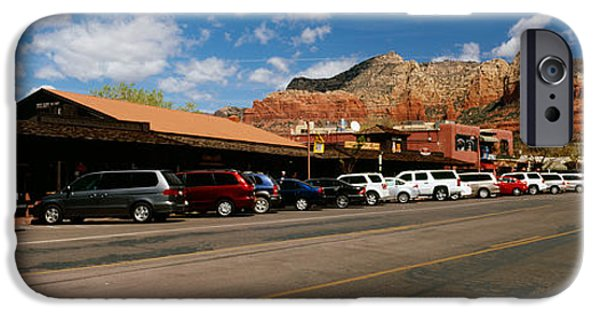 Sedona iPhone Cases - Cars Parked At The Roadside, Sedona iPhone Case by Panoramic Images