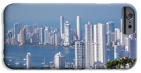 Buildings By The Ocean iPhone Cases - Cartagenha Columbia in a Distance iPhone Case by Gena Weiser