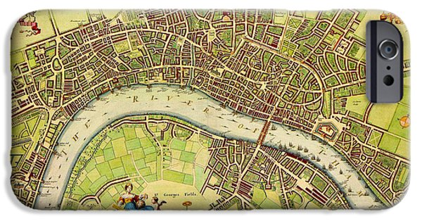 Carter iPhone Cases - Carter 17th century map of London by W Hollar iPhone Case by Celestial Images
