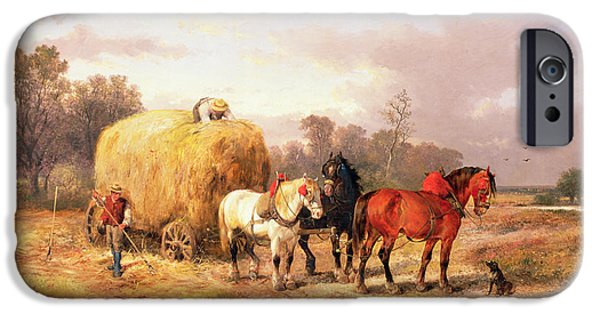 Agriculture iPhone Cases - Carting Hay, 19th Century Oil On Canvas iPhone Case by Alexis de Leeuw