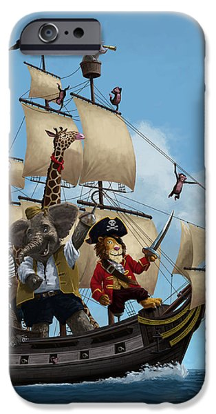 Pirate Ship Digital iPhone Cases - Cartoon Animal Pirate Ship iPhone Case by Martin Davey