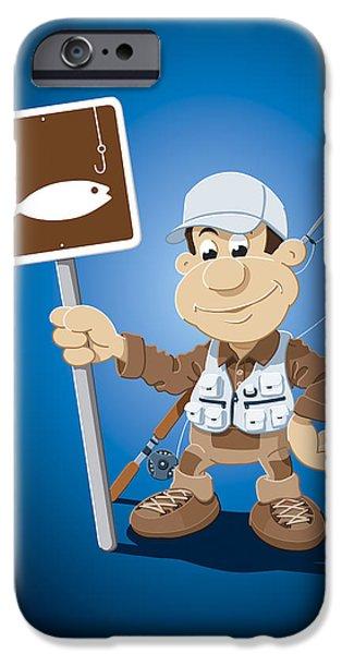 Fisherman iPhone Cases - Cartoon Fisherman Fishing Sign iPhone Case by Frank Ramspott