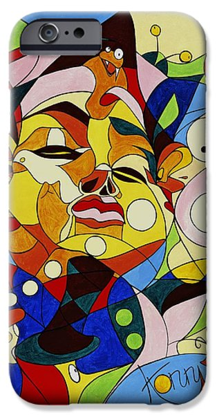 Cartoon Birds iPhone Cases - Cartoon painting with hidden pictures iPhone Case by Konni Jensen