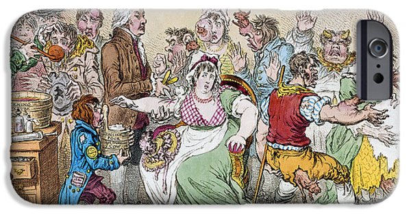 Injections iPhone Cases - Cartoon: Vaccination, 1802 iPhone Case by Granger