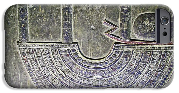 Hathor iPhone Cases - Carving Like Cleopatras Necklace in a Crypt in Temple of Hathor near Dendera-Egypt iPhone Case by Ruth Hager
