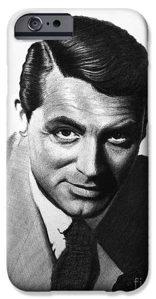 Films By Alfred Hitchcock iPhone Cases - Cary Grant iPhone Case by Loredana Buford