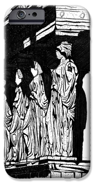 Temple Of Athena Nike iPhone Cases - Caryatids in High Contrast iPhone Case by Calvin Durham