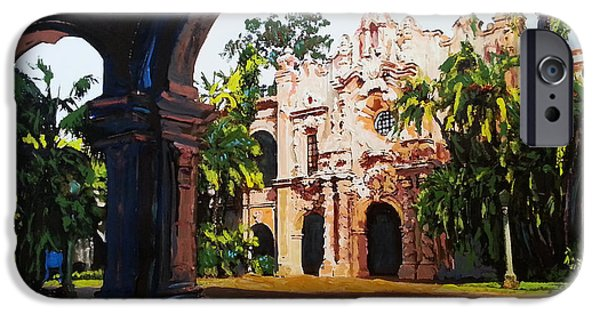 Garden Scene Paintings iPhone Cases - Casa del Prado through the Arches iPhone Case by RD Riccoboni