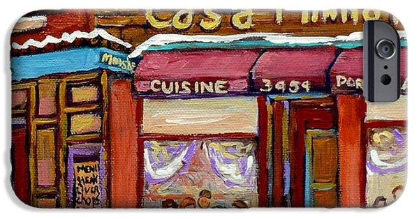 Winter Scene iPhone Cases - Casa Minhota Portuguese Cafe Art Go Habs Go Hockey Paintings Montreal Main Street Carole Spandau iPhone Case by Carole Spandau