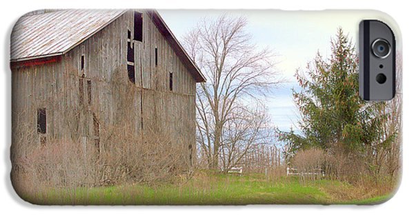 Old Barns Pyrography iPhone Cases - Casanovia Barn Restoration Project iPhone Case by Rosemarie E Seppala