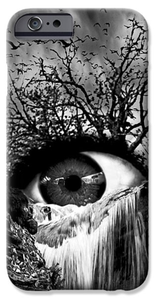 Monochrome Mixed Media iPhone Cases - Cascade Crying Eye grayscale iPhone Case by Marian Voicu