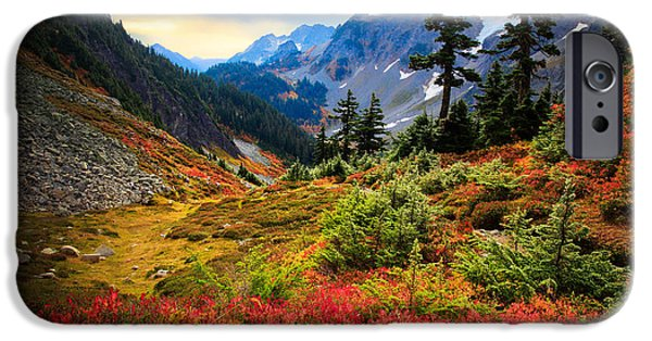 Solitude Photographs iPhone Cases - Cascade Pass Fall iPhone Case by Inge Johnsson