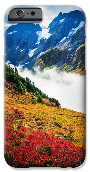 Blueberry iPhone Cases - Cascade Pass Peaks iPhone Case by Inge Johnsson