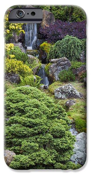 Buddhism iPhone Cases - Cascade Waterfall - Japanese Tea Garden iPhone Case by Adam Romanowicz