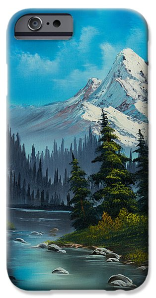 Bob Ross Paintings iPhone Cases - Cascading Falls iPhone Case by C Steele