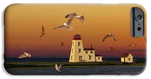 Sea Birds iPhone Cases - Cascumpec Lighthouse on Prince Edward Island iPhone Case by Randall Nyhof