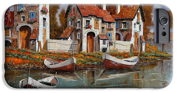 Village Paintings iPhone Cases - Case A Cerchio iPhone Case by Guido Borelli