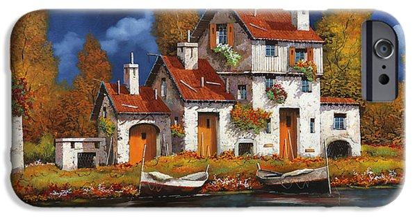 Roof iPhone Cases - Case Bianche Sul Fiume iPhone Case by Guido Borelli