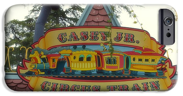 Mad Hatter iPhone Cases - Casey Jr Circus Train Fantasyland Signage Disneyland iPhone Case by Thomas Woolworth