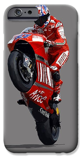 Casey Digital iPhone Cases - Casey Stoner iPhone Case by Charley Pallos