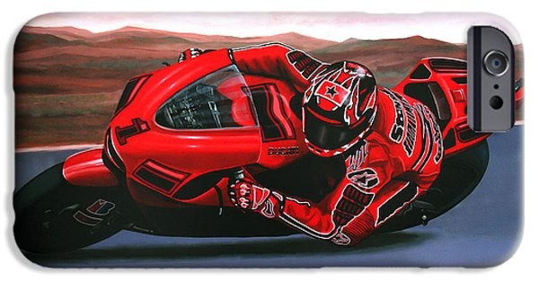 Realistic Art iPhone Cases - Casey Stoner on Ducati iPhone Case by Paul Meijering