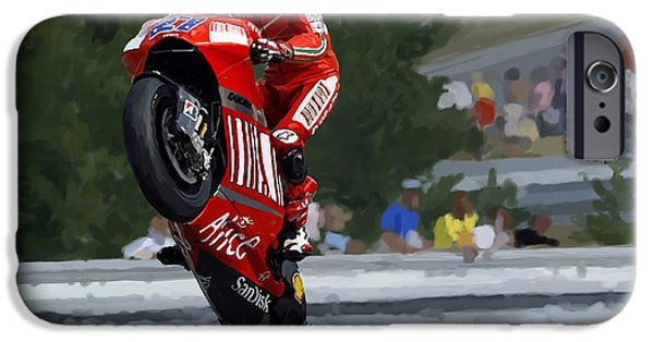 Casey Digital iPhone Cases - Casey Stoner Wheelie iPhone Case by Charley Pallos