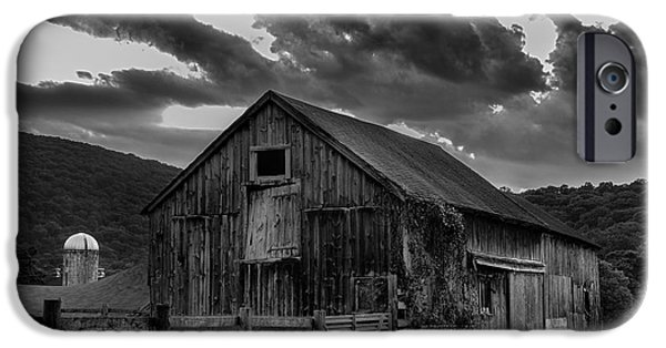 Old Barns iPhone Cases - Caseys Barn-Black and White  iPhone Case by Thomas Schoeller