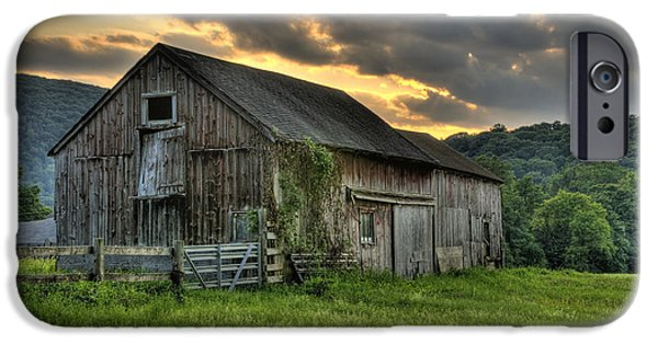Connecticut Landscape iPhone Cases - Caseys Barn iPhone Case by Thomas Schoeller