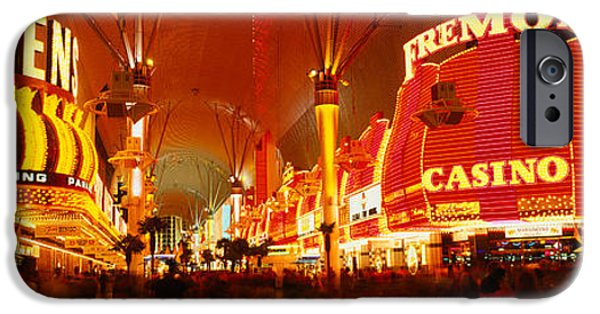 Commercial Photography iPhone Cases - Casino Lit Up At Night, Fremont Street iPhone Case by Panoramic Images