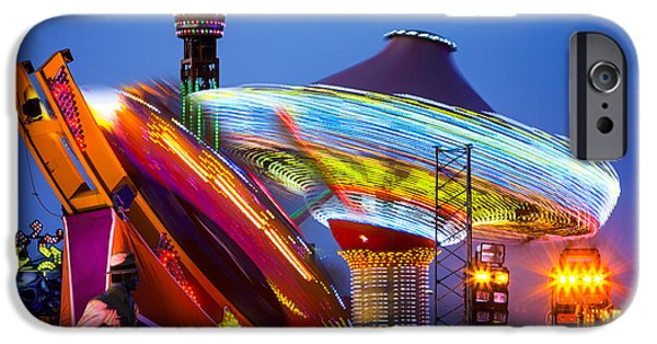 Disc iPhone Cases - Casino Pier Rides Seaside Heights iPhone Case by Jerry Fornarotto