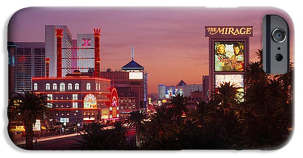Reflection Of Trees iPhone Cases - Casinos At Twilight, Las Vegas, Nevada iPhone Case by Panoramic Images