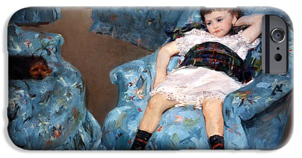 Cora Wandel iPhone Cases - Cassatts Little Girl In A Blue Armchair iPhone Case by Cora Wandel
