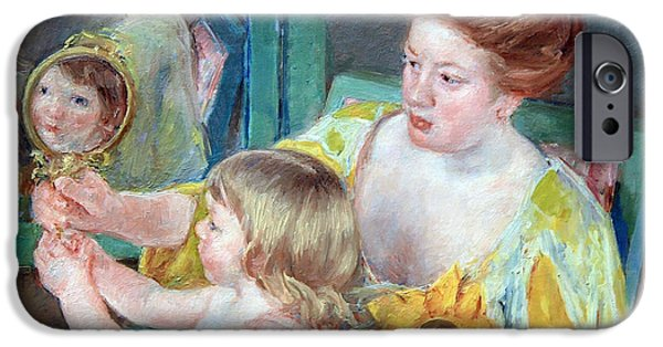 D.c. Pyrography iPhone Cases - Cassatts Mother And Child Up Close iPhone Case by Cora Wandel