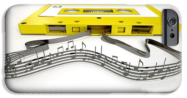 Sticker iPhone Cases - Cassette Tape And Musical Notes Concept iPhone Case by Allan Swart