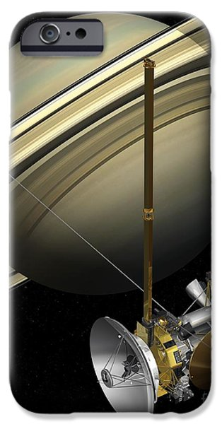 Component iPhone Cases - Cassini-huygens Probe And Saturn, Artwork iPhone Case by Carlos Clarivan
