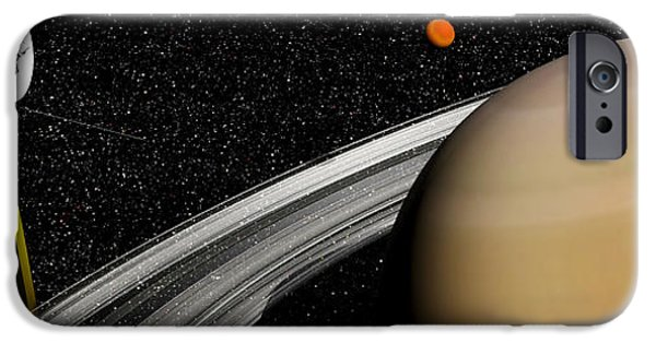 Disc iPhone Cases - Cassini Spacecraft Orbiting Saturn iPhone Case by Elena Duvernay